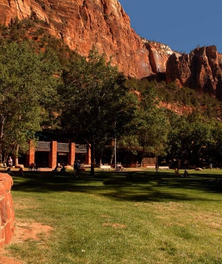 Landscap view of the Zion Lodge front lawn
