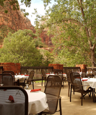 Restaurant balcony at Zion National Park