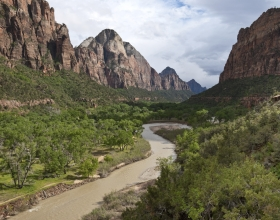 Zion Canyon and the Meandering Virgin River at Dusk